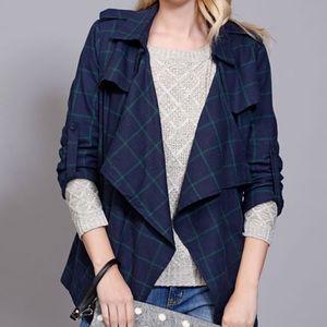 Flannel trench jacket lightweight